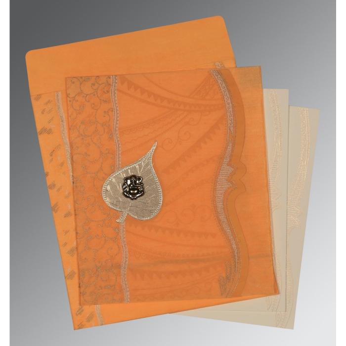 Orange Wooly Embossed Wedding Card : W-8210L - 123WeddingCards