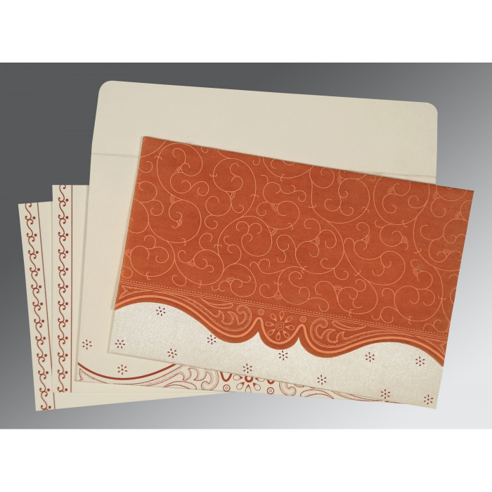 Orange Wooly Embossed Wedding Invitations : W-8221O - 123WeddingCards