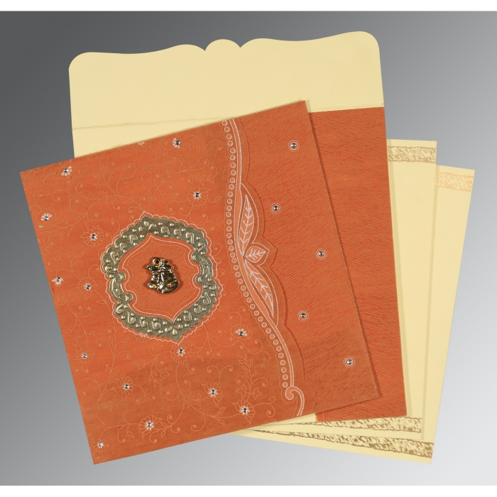 BURNT ORANGE SHIMMERY FLORAL THEMED - EMBOSSED WEDDING CARD : C-8209D - 123WeddingCards