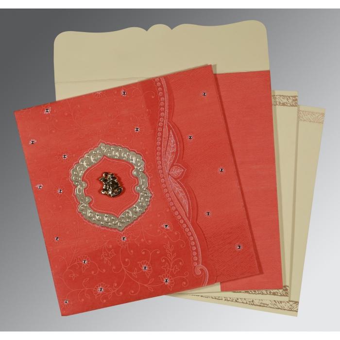 Orange Wooly Floral Themed - Embossed Wedding Card : C-8209M - 123WeddingCards