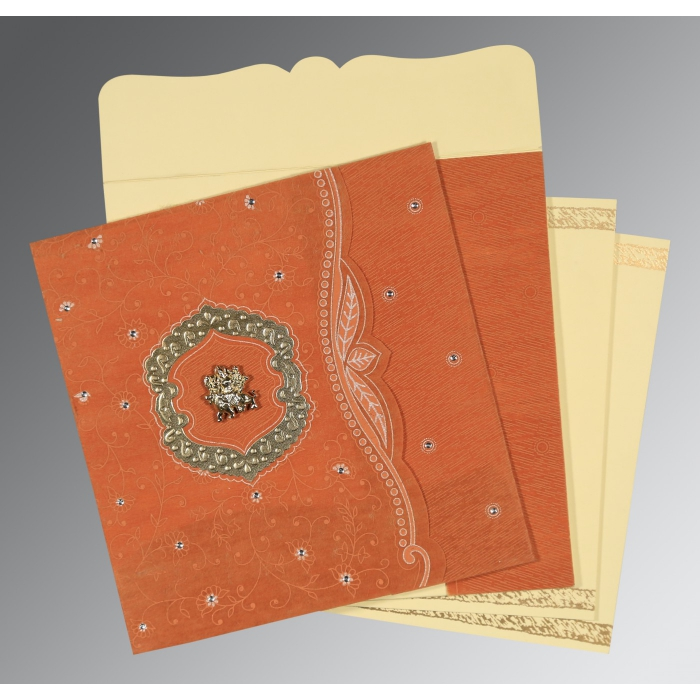 Orange Wooly Floral Themed - Embossed Wedding Card : G-8209D - 123WeddingCards