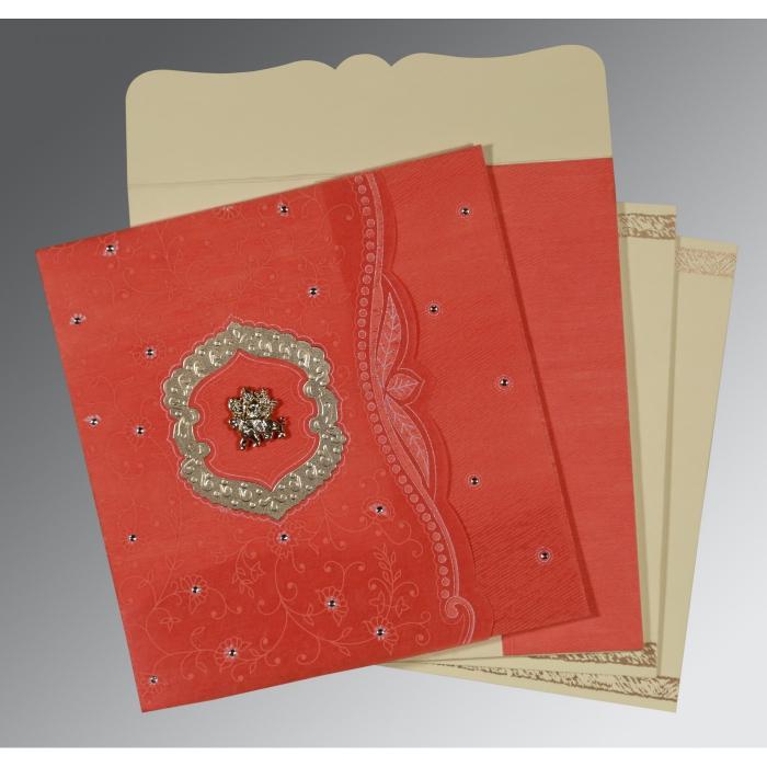 Orange Wooly Floral Themed - Embossed Wedding Card : G-8209M - 123WeddingCards