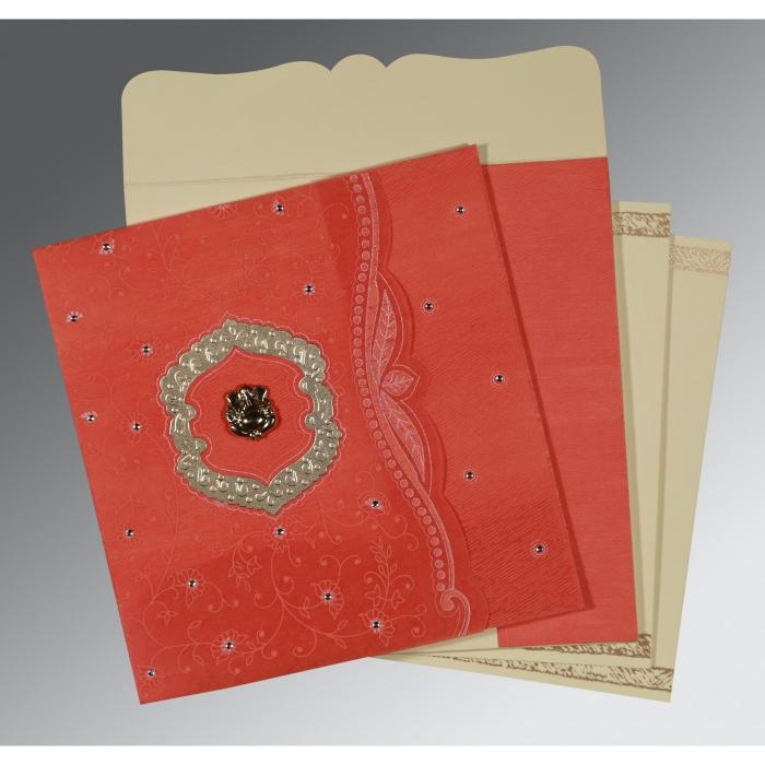Orange Wooly Floral Themed - Embossed Wedding Card : IN-8209M - 123WeddingCards