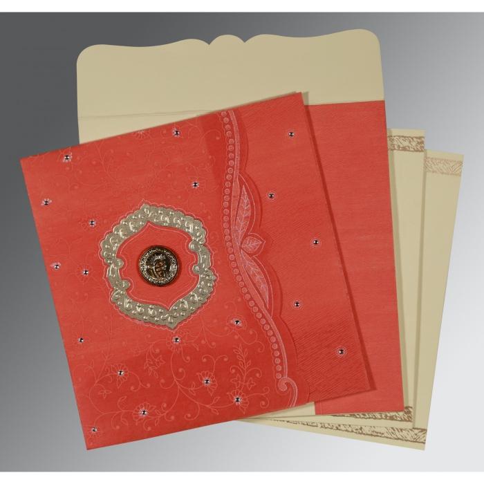 Orange Wooly Floral Themed - Embossed Wedding Card : S-8209M - 123WeddingCards