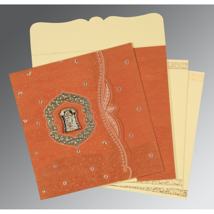 Orange Wooly Floral Themed - Embossed Wedding Card : SO-8209D - 123WeddingCards
