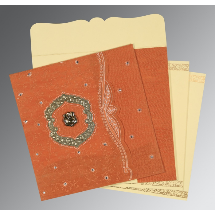 BURNT ORANGE SHIMMERY FLORAL THEMED - EMBOSSED WEDDING CARD : W-8209D - 123WeddingCards
