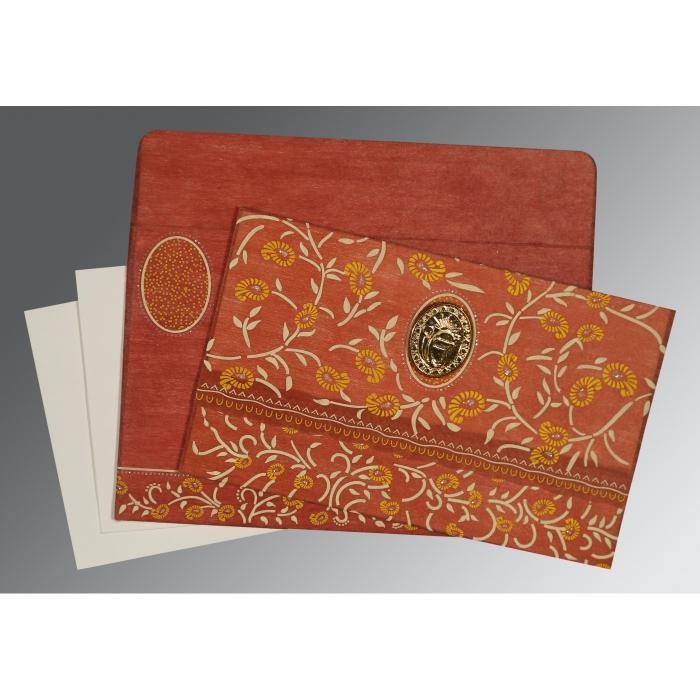 Orange Wooly Floral Themed - Glitter Wedding Invitations : RU-8206G - 123WeddingCards