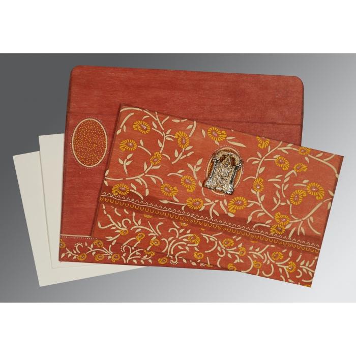 Orange Wooly Floral Themed - Glitter Wedding Card : CSO-8206G - 123WeddingCards