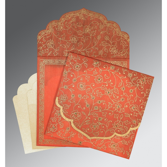 CORAL WOOLY FLORAL THEMED - SCREEN PRINTED WEDDING INVITATION : C-8211F - 123WeddingCards