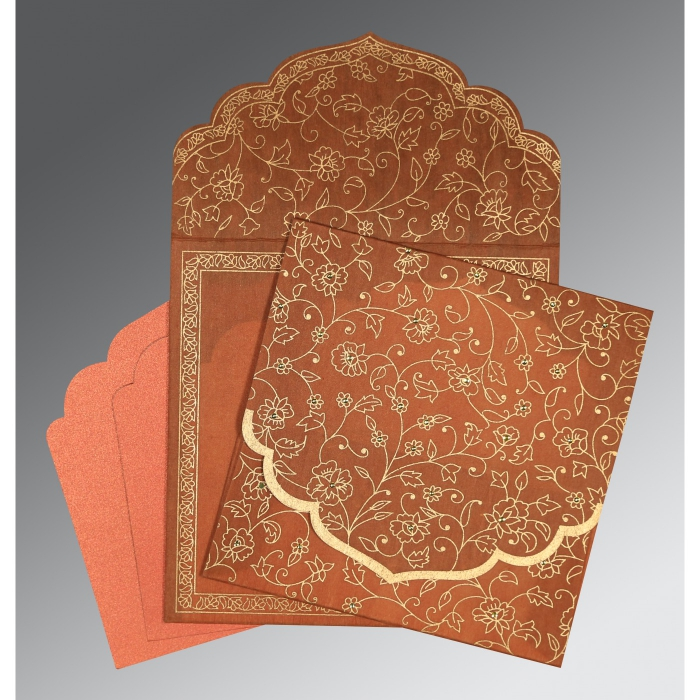 AUTUMN ORANGE WOOLY FLORAL THEMED - SCREEN PRINTED WEDDING INVITATION : D-8211H - 123WeddingCards