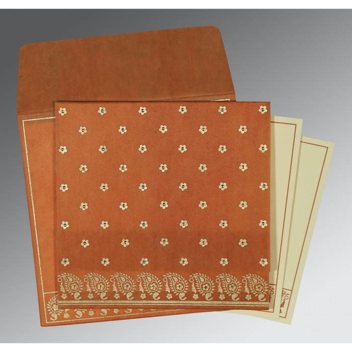 BURNT ORANGE WOOLY FLORAL THEMED - SCREEN PRINTED WEDDING CARD : D-8218C - 123WeddingCards