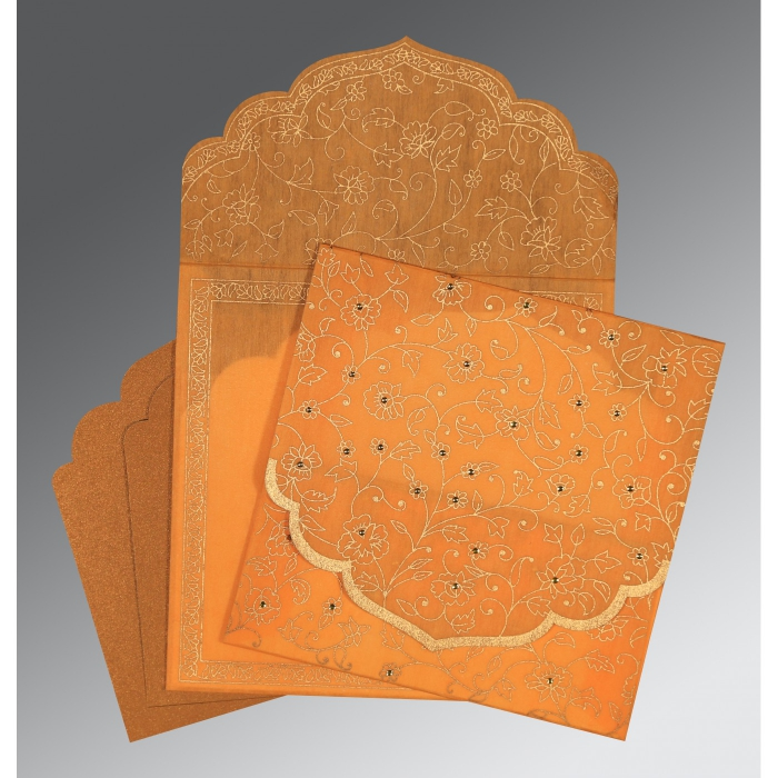 Orange Wooly Floral Themed - Screen Printed Wedding Invitation : I-8211L - 123WeddingCards
