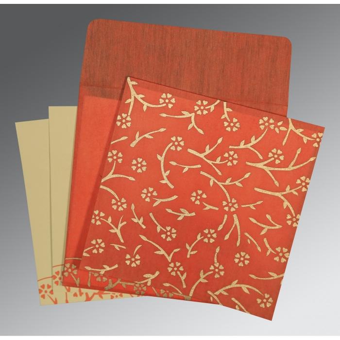 Orange Wooly Floral Themed - Screen Printed Wedding Invitation : I-8216G - 123WeddingCards