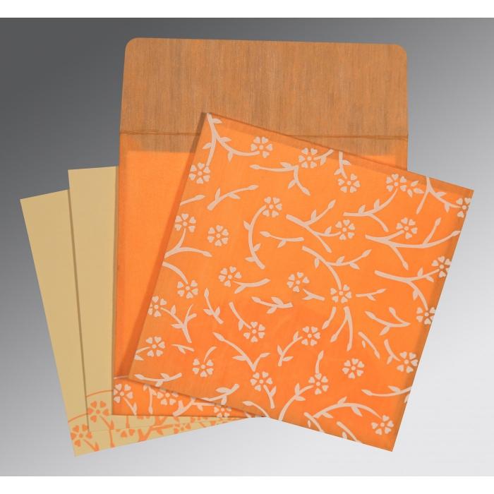 Orange Wooly Floral Themed - Screen Printed Wedding Invitation : I-8216O - 123WeddingCards
