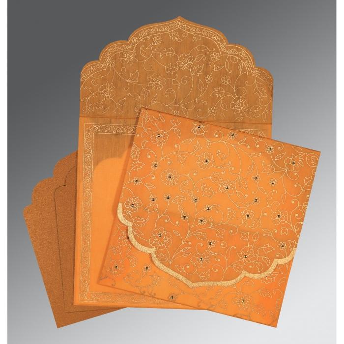 Orange Wooly Floral Themed - Screen Printed Wedding Invitation : RU-8211L - 123WeddingCards