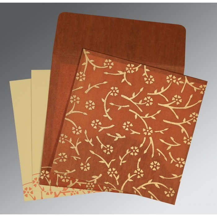 Orange Wooly Floral Themed - Screen Printed Wedding Invitation : SO-8216E - 123WeddingCards