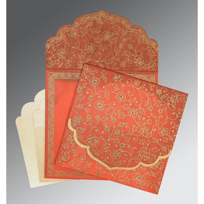 Orange Wooly Floral Themed - Screen Printed Wedding Invitation : W-8211F - 123WeddingCards