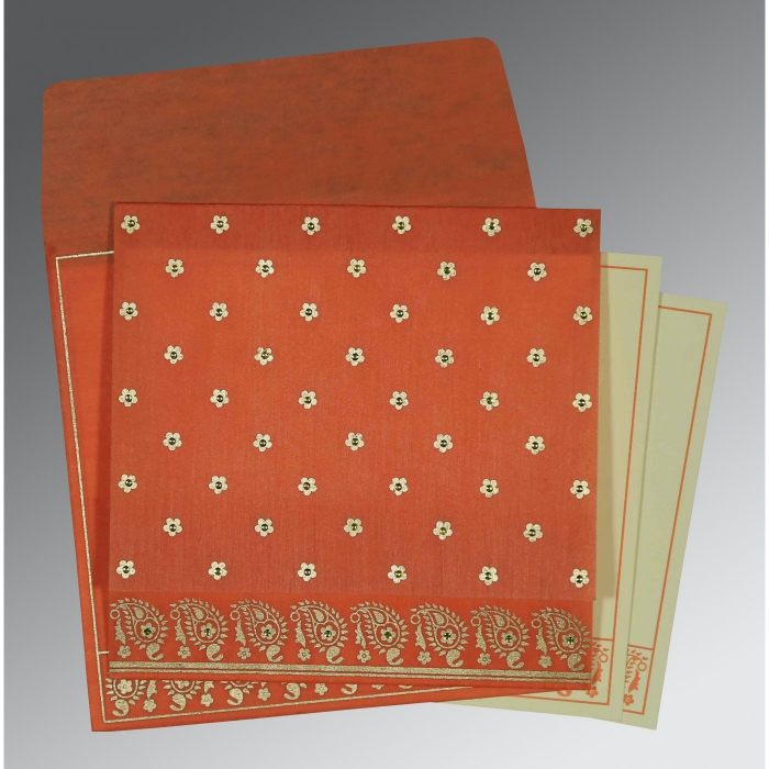 Orange Wooly Floral Themed - Screen Printed Wedding Card : W-8218E - 123WeddingCards