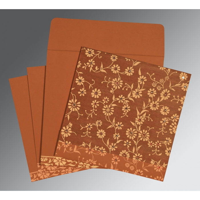 BURNT ORANGE MATTE FLORAL THEMED - SCREEN PRINTED WEDDING CARD : W-8222H - 123WeddingCards