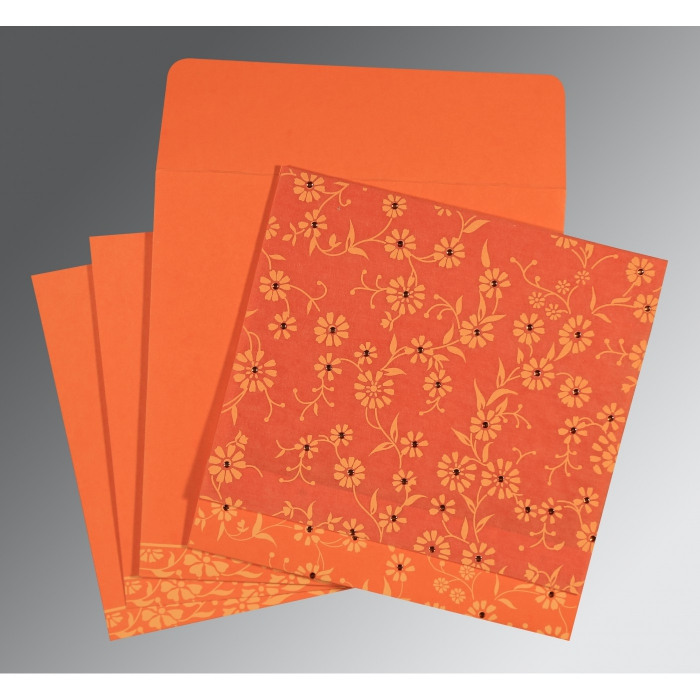ORANGE MATTE FLORAL THEMED - SCREEN PRINTED WEDDING CARD : W-8222L - 123WeddingCards