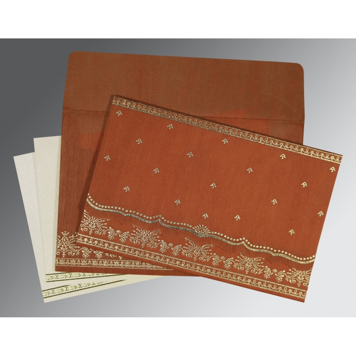 BURNT ORANGE WOOLY FOIL STAMPED WEDDING INVITATION : C-8241M - 123WeddingCards