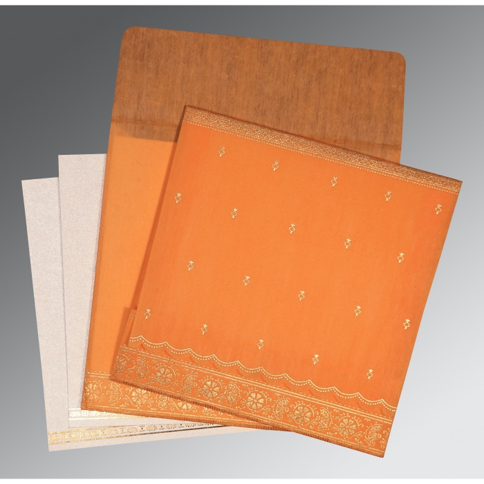 AUTUMN ORANGE WOOLY FOIL STAMPED WEDDING CARD : D-8242Q - 123WeddingCards
