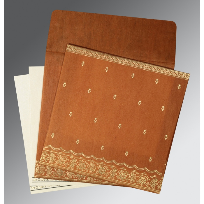 Orange Wooly Foil Stamped Wedding Card : G-8242E - 123WeddingCards