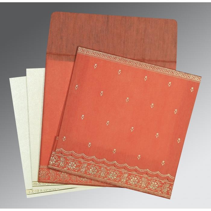 Orange Wooly Foil Stamped Wedding Card : IN-8242I - 123WeddingCards