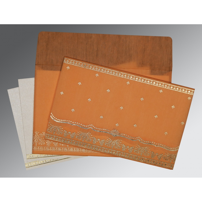 Orange Wooly Foil Stamped Wedding Invitation : RU-8241H - 123WeddingCards