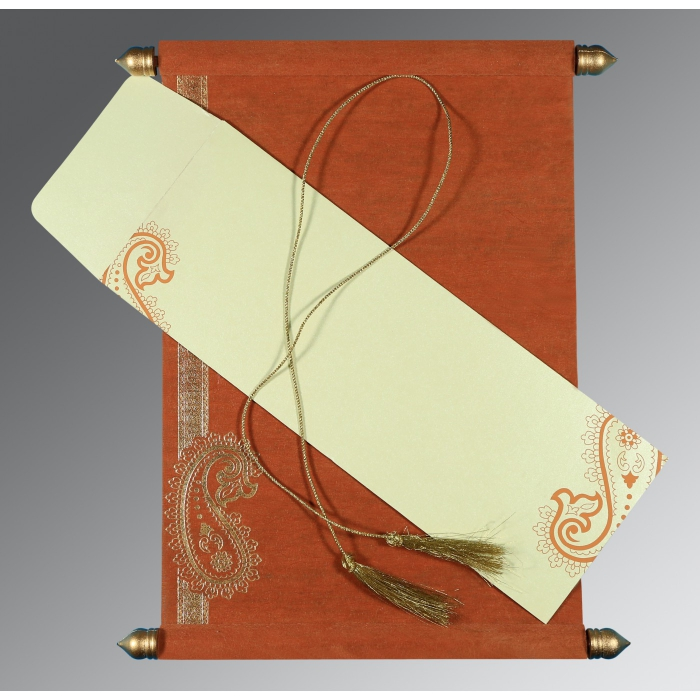 Orange Wooly Foil Stamped Wedding Invitations : SC-5015K - 123WeddingCards