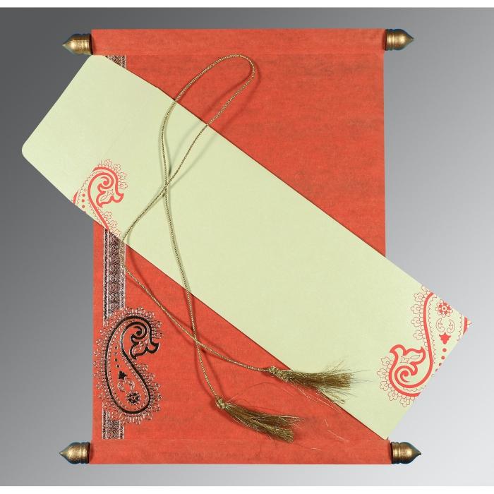 Orange Wooly Foil Stamped Wedding Card : SC-5015L - 123WeddingCards