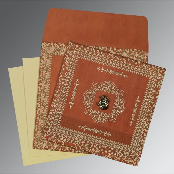 Orange Wooly Glitter Wedding Card : C-8205C - 123WeddingCards