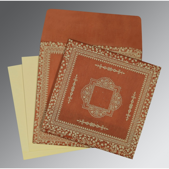 Orange Wooly Glitter Wedding Card : D-8205C - 123WeddingCards