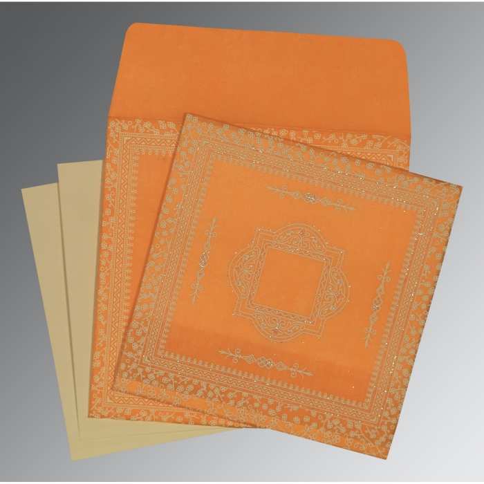 Orange Wooly Glitter Wedding Card : D-8205H - 123WeddingCards