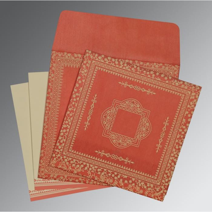 Orange Wooly Glitter Wedding Card : D-8205M - 123WeddingCards