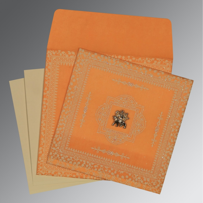 Orange Wooly Glitter Wedding Card : G-8205H - 123WeddingCards