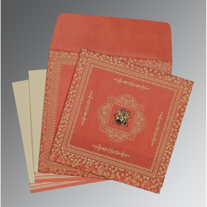 Orange Wooly Glitter Wedding Card : G-8205M - 123WeddingCards
