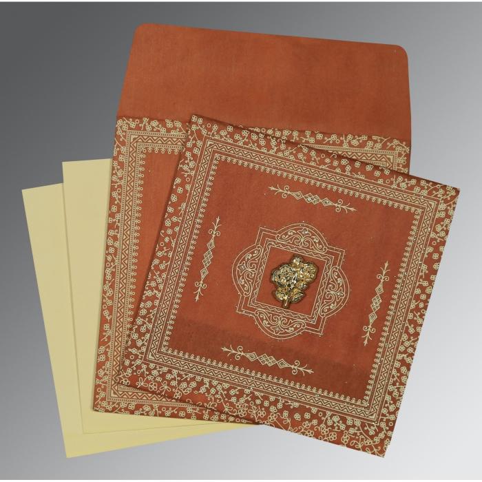 Orange Wooly Glitter Wedding Card : I-8205C - 123WeddingCards