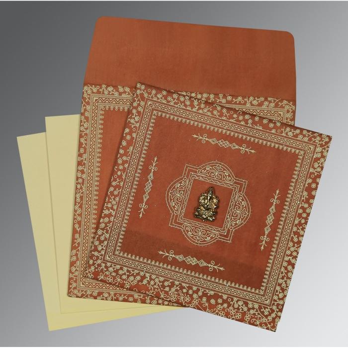 BURNT ORANGE WOOLY GLITTER WEDDING CARD : IN-8205C - 123WeddingCards