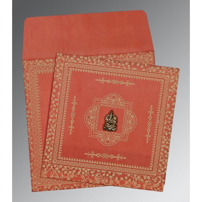 Orange Wooly Glitter Wedding Card : IN-8205M - 123WeddingCards