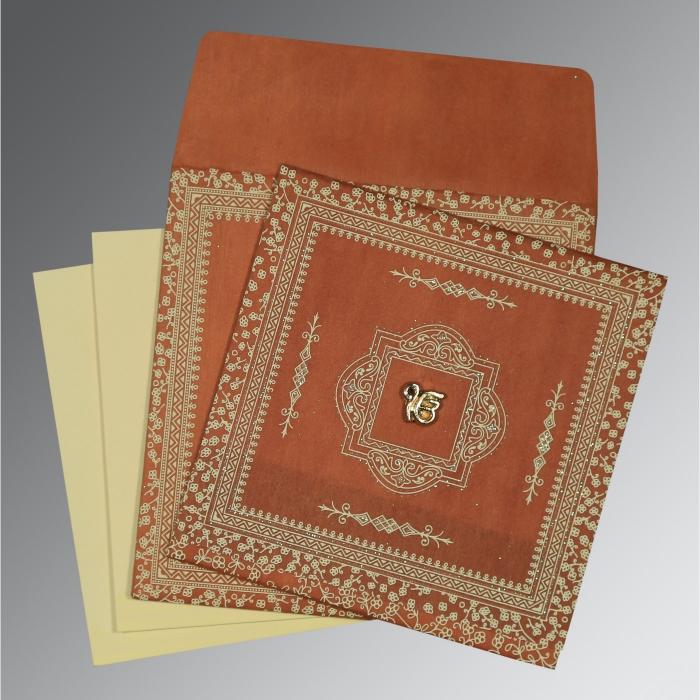 Orange Wooly Glitter Wedding Card : RU-8205C - 123WeddingCards