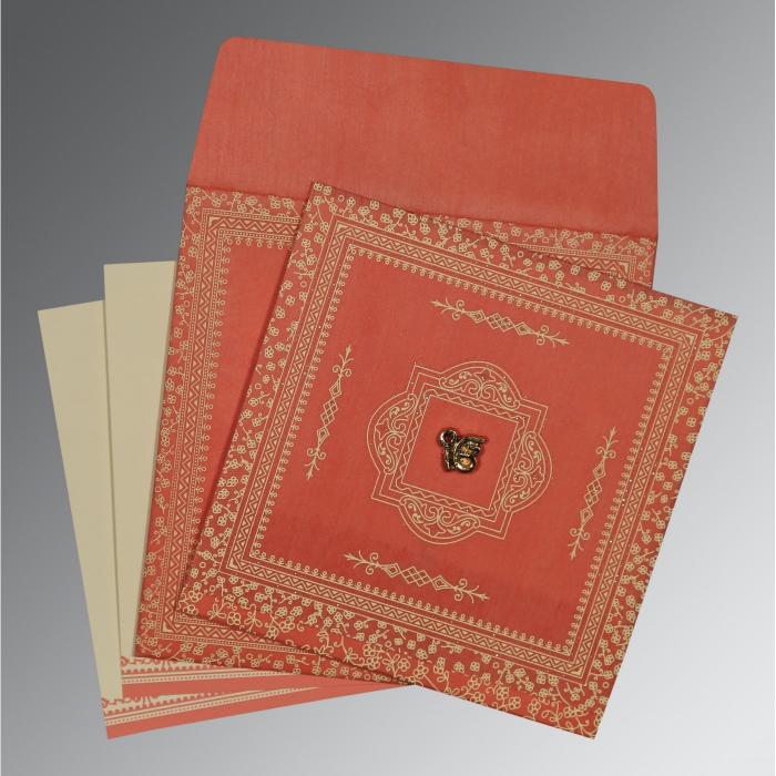 Orange Wooly Glitter Wedding Card : RU-8205M - 123WeddingCards