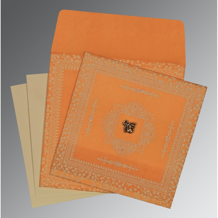 Orange Wooly Glitter Wedding Invitations : S-8205H - 123WeddingCards