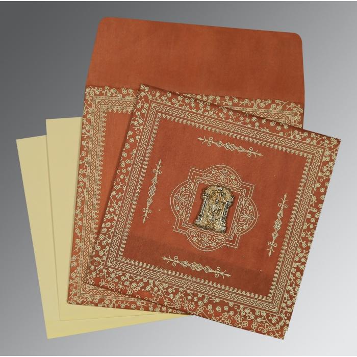 Orange Wooly Glitter Wedding Card : SO-8205C - 123WeddingCards