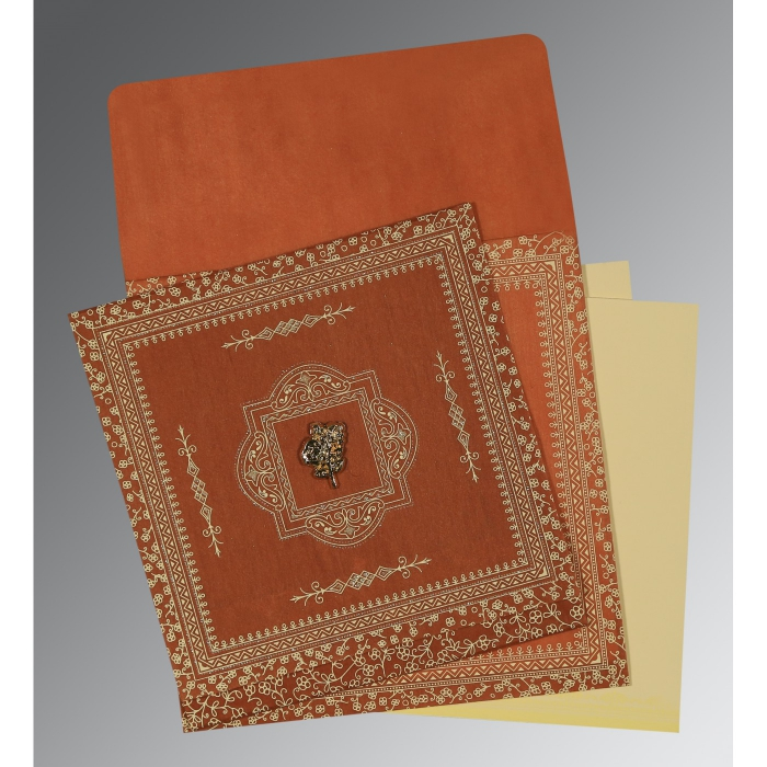 BURNT ORANGE WOOLY SCREEN PRINTED WEDDING CARD : C-1050 - 123WeddingCards
