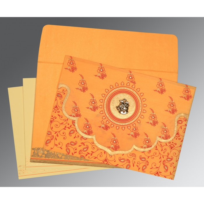 Orange Wooly Screen Printed Wedding Invitation : C-8207J - 123WeddingCards