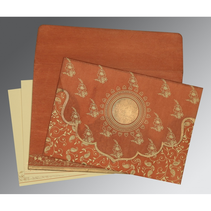 Orange Wooly Screen Printed Wedding Invitation : D-8207N - 123WeddingCards