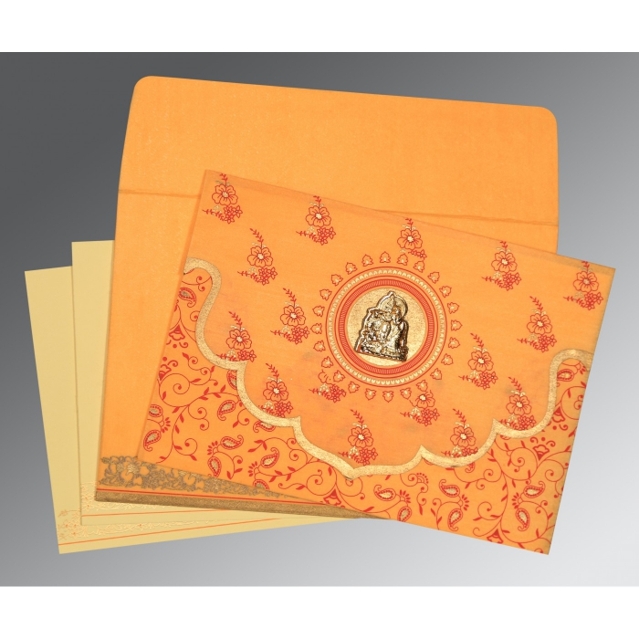 Orange Wooly Screen Printed Wedding Invitations : G-8207J - 123WeddingCards