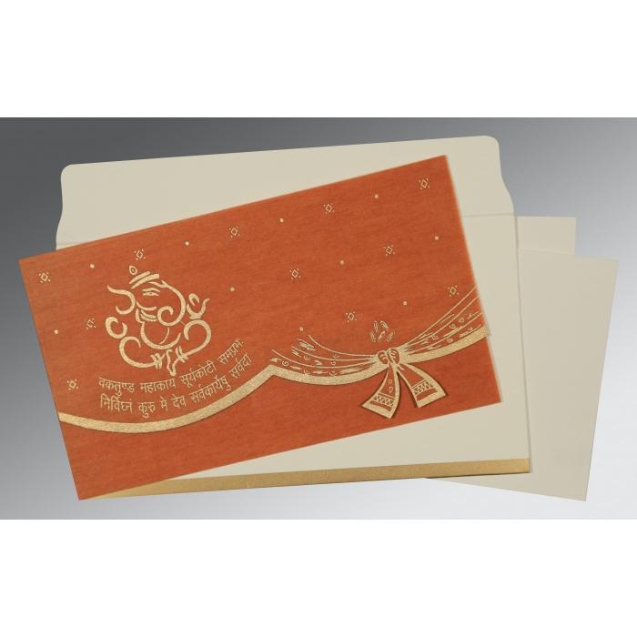 BURNT ORANGE WOOLY SCREEN PRINTED WEDDING CARD : IN-0196 - 123WeddingCards