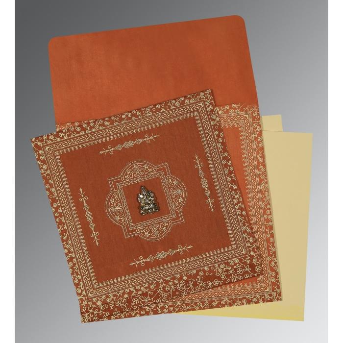 BURNT ORANGE WOOLY SCREEN PRINTED WEDDING CARD : IN-1050 - 123WeddingCards